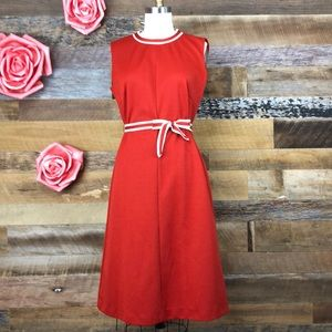 Dresses & Skirts - Vintage 1970s red poly dress with self belt